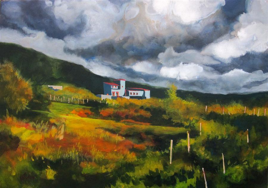 Original art for sale at UGallery.com | Closest Neighbor - Blue Farm by OLEG OSIPOFF | $700 | Acrylic painting | 18' h x 26' w | http://www.ugallery.com/acrylic-painting-closest-neighbor-blue-farm