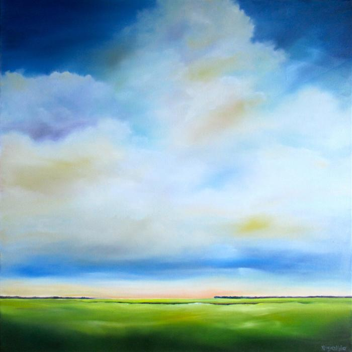 Discover Original Art by Nancy Hughes Miller | Cloudscape Marsh oil painting | Art for Sale Online at UGallery