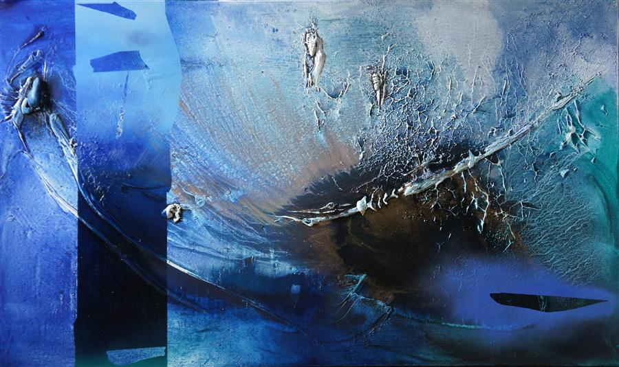 Original art for sale at UGallery.com   At Sea Between Fossils and Satellites 1 by MÉLISA TAYLOR   $4,650   Mixed media artwork   36' h x 60' w   http://www.ugallery.com/mixed-media-artwork-at-sea-between-fossils-and-satellites-1