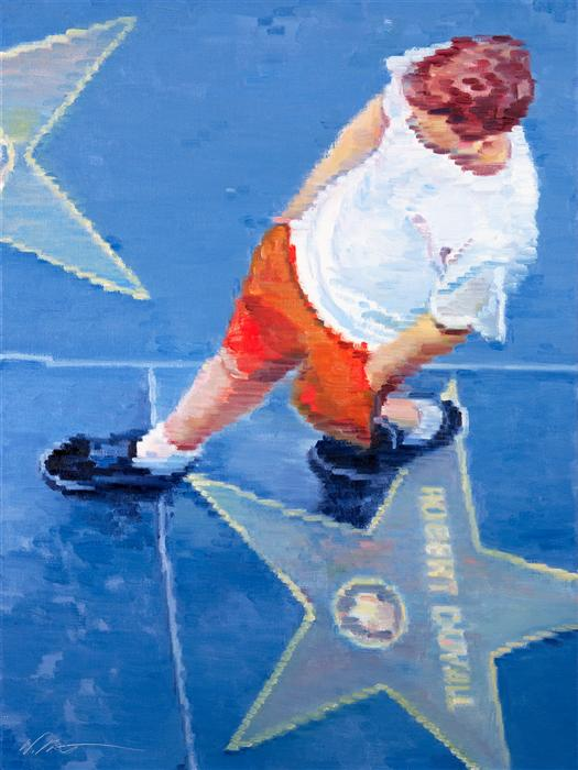 Original art for sale at UGallery.com | Young Man on Hollywood Boulevard by WARREN KEATING | $1,475 | Oil painting | 24' h x 18' w | http://www.ugallery.com/oil-painting-young-man-on-hollywood-boulevard