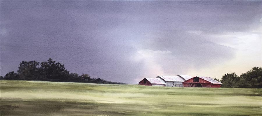 Original art for sale at UGallery.com | Approaching Storm by JILL E. POYERD | $725 | Watercolor painting | 12' h x 27' w | http://www.ugallery.com/watercolor-painting-approaching-storm