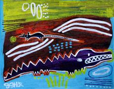 Original art for sale at UGallery.com | Alligator and Rat by Jessica JH Roller | $310 | acrylic painting | http://www.ugallery.com/acrylic-painting-alligator-and-rat