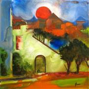 Architecture art,Fantasy art,acrylic painting,Supermoon Eve