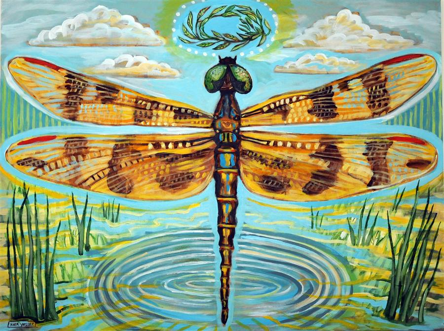 Original art for sale at UGallery.com | Golden Dragonfly by KIRA YUSTAK | $1,175 | Acrylic painting | 30' h x 40' w | http://www.ugallery.com/acrylic-painting-golden-dragonfly