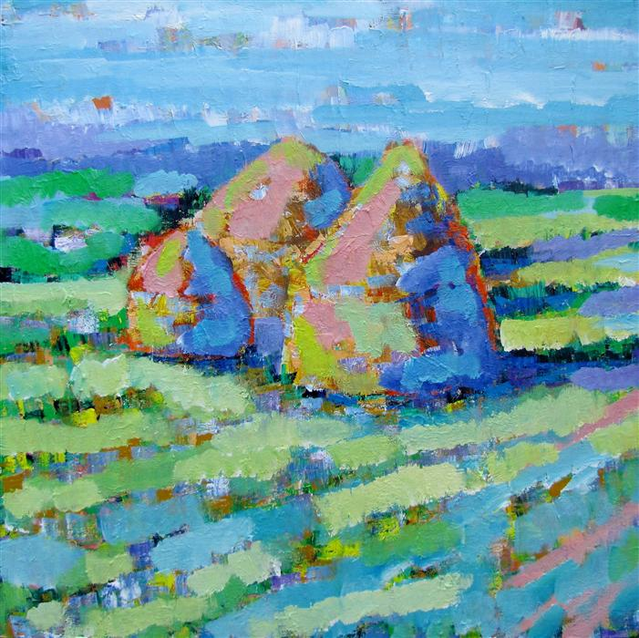 Discover Original Art by Ina Shtukar | Haystacks acrylic painting | Art for Sale Online at UGallery