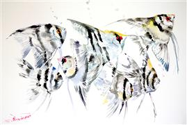 Animals art,watercolor painting,Scalar Fish (Grey Composition)