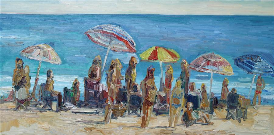 Original art for sale at UGallery.com | On the Beach by JOHN KILDUFF | $2,625 | Oil painting | 24' h x 48' w | http://www.ugallery.com/oil-painting-on-the-beach