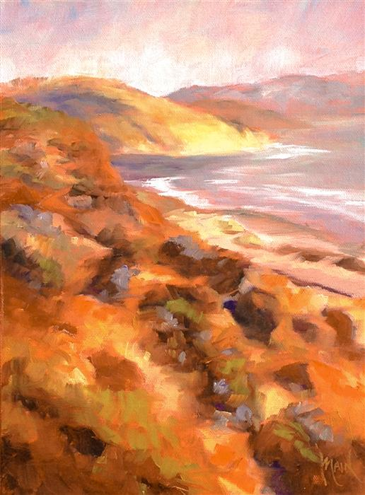Original art for sale at UGallery.com | Towards Torry Pines by MANDY MAIN | $375 | Oil painting | 12' h x 9' w | http://www.ugallery.com/oil-painting-towards-torry-pines