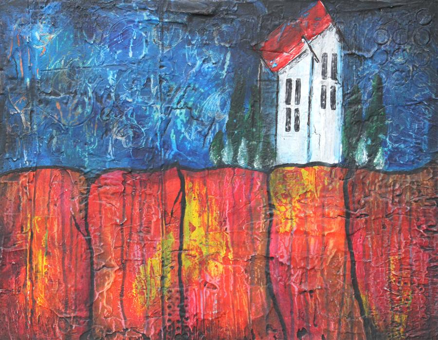 Discover Original Art by Laura Carter | House on the Ridge acrylic painting | Art for Sale Online at UGallery