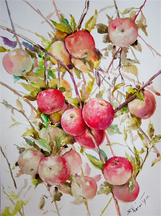 Original art for sale at UGallery.com | Apples on Tree (Vertical Composition) by SUREN NERSISYAN | $425 | Watercolor painting | 20' h x 15' w | http://www.ugallery.com/watercolor-painting-apples-on-tree-vertical-composition