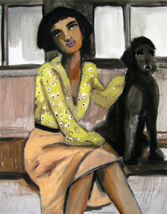 Original art for sale at UGallery.com | Girl and Dog on the L Train by MALIA PETTIT | $1,300 | Oil painting | 30' h x 24' w | http://www.ugallery.com/oil-painting-girl-and-dog-on-the-l-train