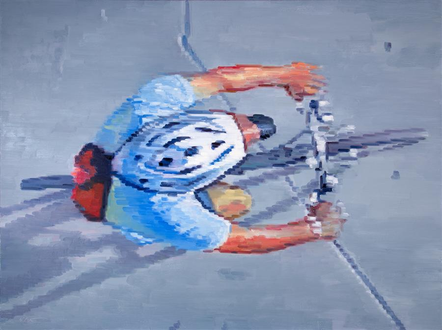 Original art for sale at UGallery.com | Cyclist Wearing Helmet Riding in Santa Monica by WARREN KEATING | $4,075 | Oil painting | 36' h x 48' w | http://www.ugallery.com/oil-painting-cyclist-wearing-helmet-riding-in-santa-monica