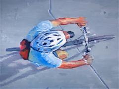 People art,Sports art,City art,oil painting,Cyclist Wearing Helmet Riding in Santa Monica