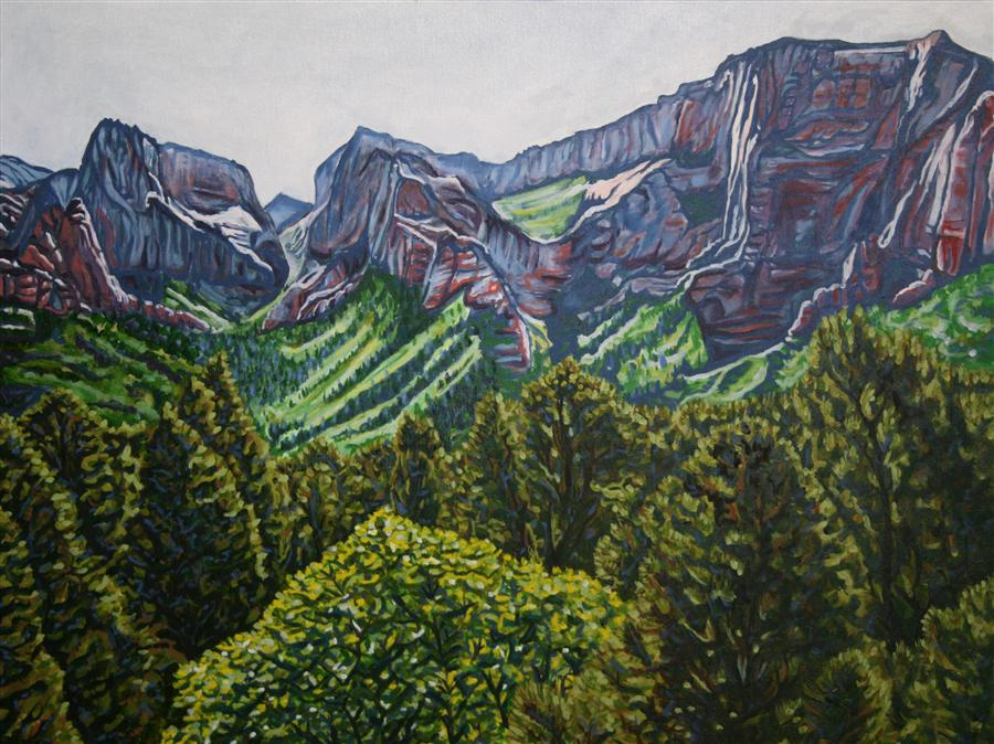 Original art for sale at UGallery.com | Spring Morning in Kolob Canyon by CRYSTAL DIPIETRO | $2,975 | Oil painting | 30' h x 40' w | http://www.ugallery.com/oil-painting-spring-morning-in-kolob-canyon