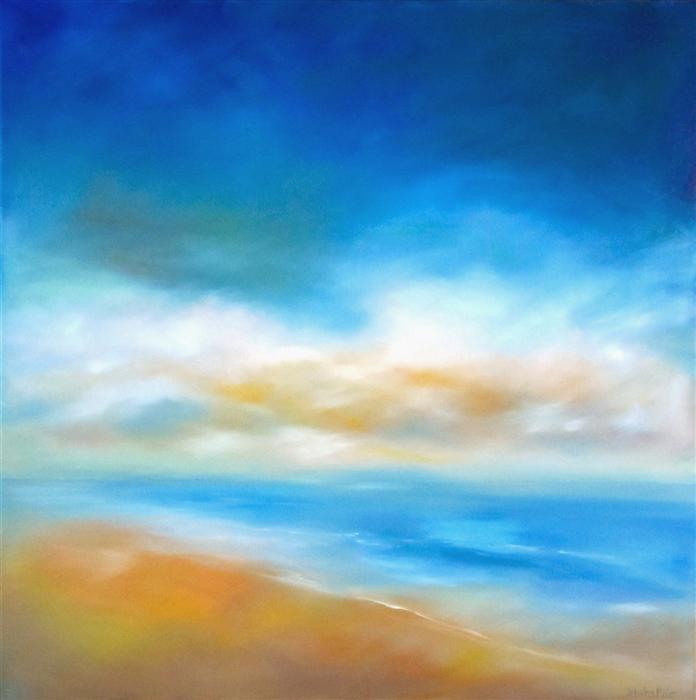 Original art for sale at UGallery.com | Daybreak Shore by NANCY HUGHES MILLER | $1,675 | Oil painting | 36' h x 36' w | http://www.ugallery.com/oil-painting-daybreak-shore