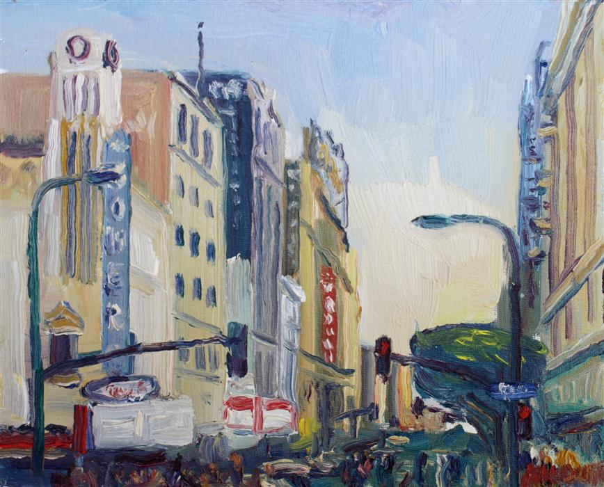 Original art for sale at UGallery.com | 8th & Broadway Streets by JOHN KILDUFF | $450 | Oil painting | 8' h x 10' w | http://www.ugallery.com/oil-painting-8th-broadway-streets