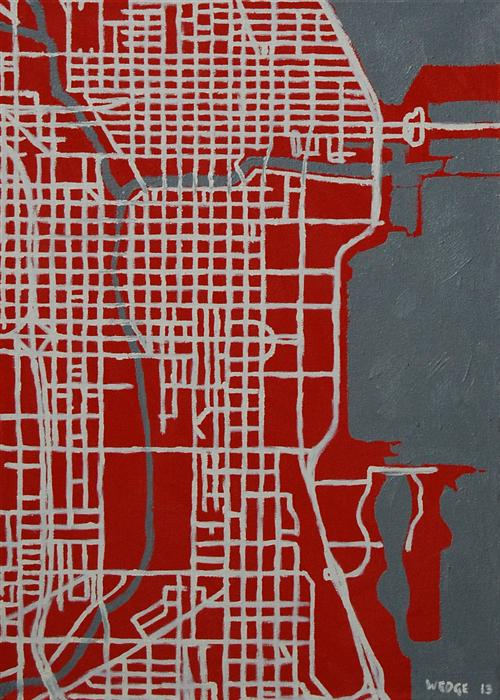 Discover Original Art by Michael Wedge | Red/Gray Layout (Chicago) oil painting | Art for Sale Online at UGallery