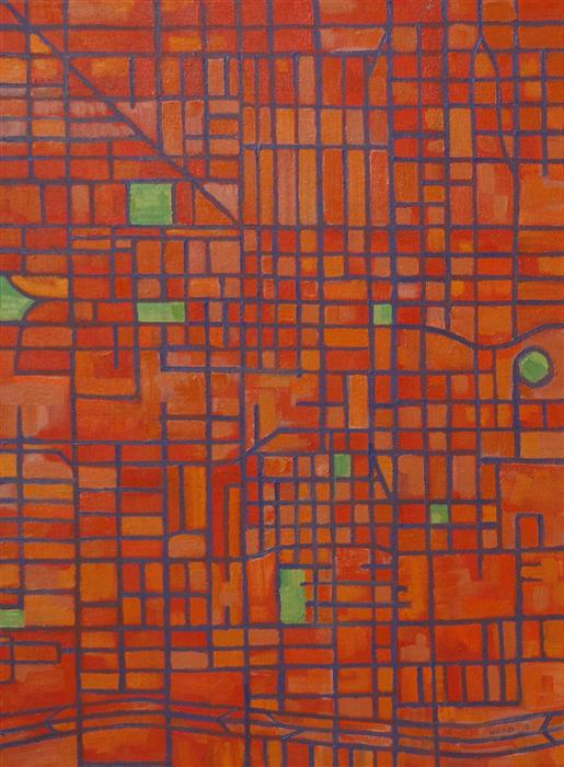 Discover Original Art by Michael Wedge | Secondary Grid (Phoenix) oil painting | Art for Sale Online at UGallery