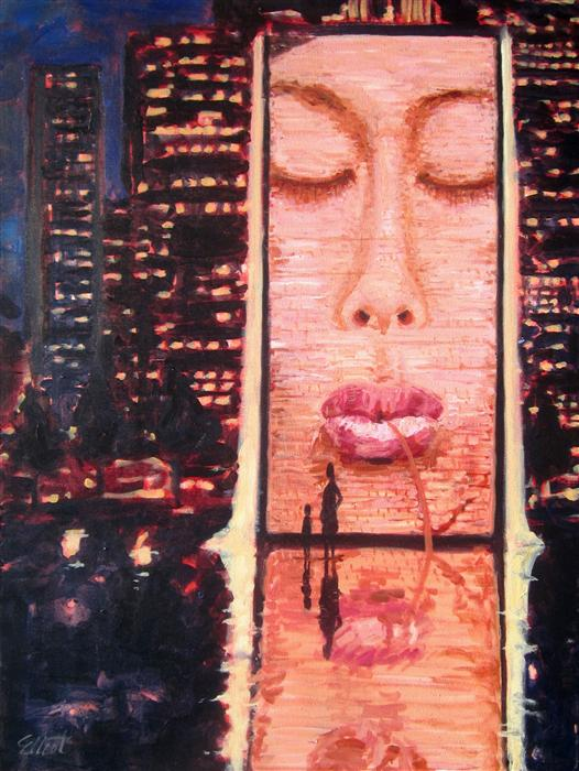 Discover Original Art by Elliot Coatney | Plensa in Chicago (Crown Fountain) acrylic painting | Art for Sale Online at UGallery