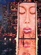 People art,Pop art,City art,acrylic painting,Plensa in Chicago (Crown Fountain)