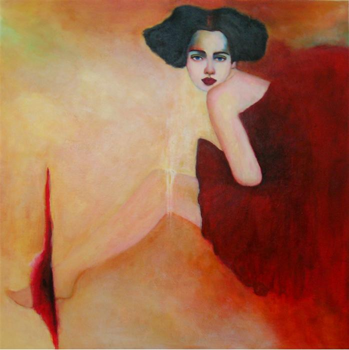 Original art for sale at UGallery.com | Red Dress by HAYDEE TORRES | $2,125 | Acrylic painting | 36' h x 36' w | http://www.ugallery.com/acrylic-painting-red-dress