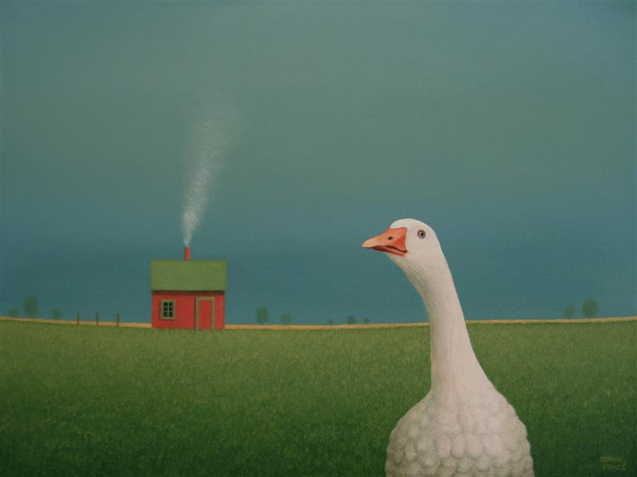 Original art for sale at UGallery.com   Shed Beyond the White Goose by SHARON  FRANCE   $980   Acrylic painting   12' h x 16' w   http://www.ugallery.com/acrylic-painting-shed-beyond-the-white-goose
