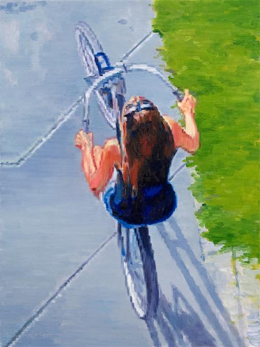 Discover Original Art by Warren Keating | Young Woman on Bicycle at Santa Monica Beach oil painting | Art for Sale Online at UGallery