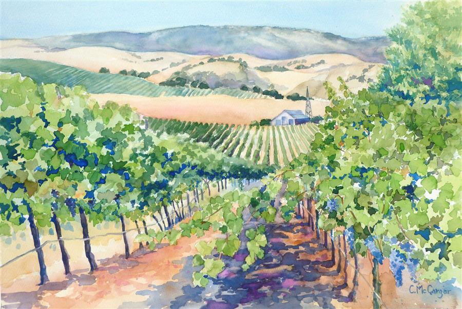 Original art for sale at UGallery.com | Livermore Valley Vineyard by CATHERINE MCCARGAR | $650 | Watercolor painting | 12' h x 18' w | http://www.ugallery.com/watercolor-painting-livermore-valley-vineyard