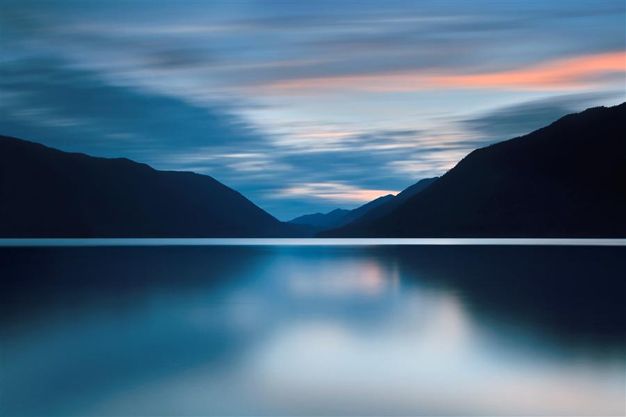 Discover Original Art by Katherine Gendreau | Dusk at Lake Crescent photography | Art for Sale Online at UGallery