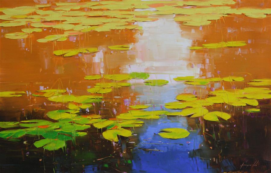 Discover Original Art by Vahe Yeremyan | Nymphaeas Tropical Waterlily oil painting | Art for Sale Online at UGallery