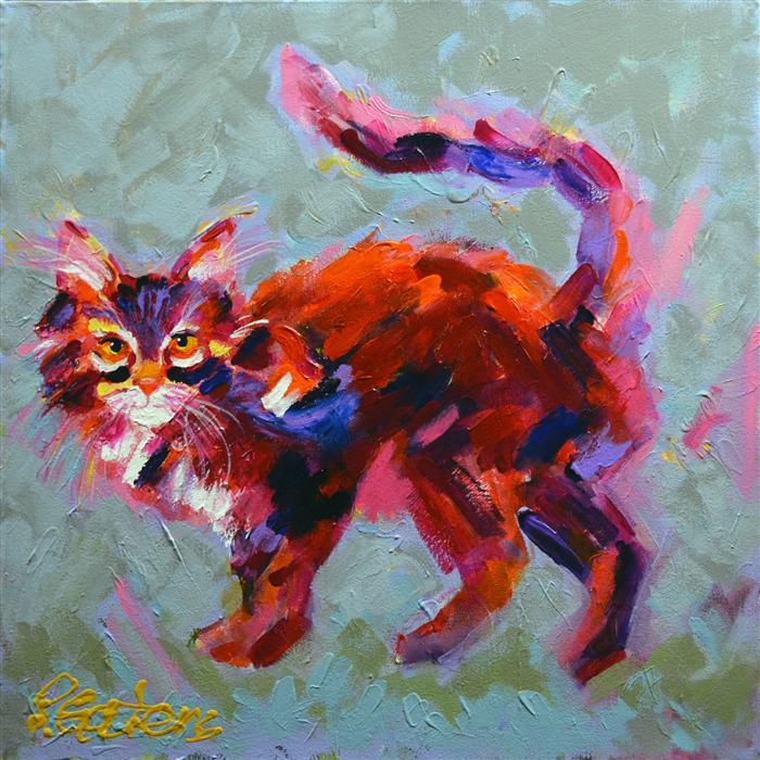 Original art for sale at UGallery.com | Red Tamale Tabby by PAMELA GATENS | $525 | Acrylic painting | 20' h x 20' w | http://www.ugallery.com/acrylic-painting-red-tamale-tabby