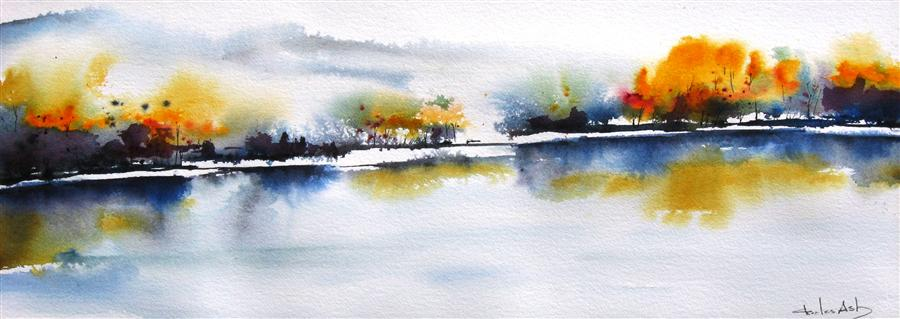 Original art for sale at UGallery.com | Autumn on the River by CHARLES ASH | $975 | Watercolor painting | 11' h x 30' w | http://www.ugallery.com/watercolor-painting-autumn-on-the-river