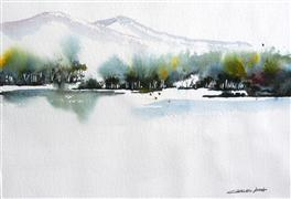 Discover Original Art by Charles Ash | Bend In The River watercolor painting | Art for Sale Online at UGallery
