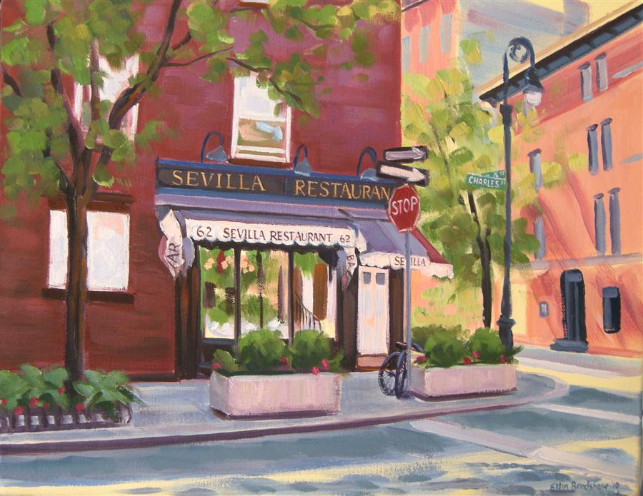 Original art for sale at UGallery.com | Sevilla Restaurant by ELLEN BRADSHAW | $2,150 | Oil painting | 16' h x 20' w | http://www.ugallery.com/oil-painting-sevilla-restaurant
