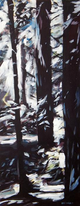 Original art for sale at UGallery.com | Redwoods #1 by CHRIS WAGNER | $1,500 | Acrylic painting | 40' h x 16' w | http://www.ugallery.com/acrylic-painting-redwoods-1
