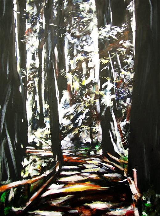 Original art for sale at UGallery.com | Redwoods #4 by CHRIS WAGNER | $2,625 | Acrylic painting | 48' h x 36' w | http://www.ugallery.com/acrylic-painting-redwoods-4