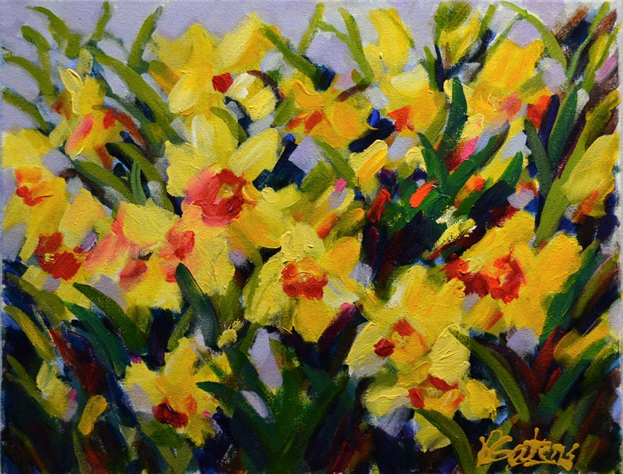Original art for sale at UGallery.com | Daffodil Valley by PAMELA GATENS | $500 | Acrylic painting | 16' h x 20' w | http://www.ugallery.com/acrylic-painting-daffodil-valley