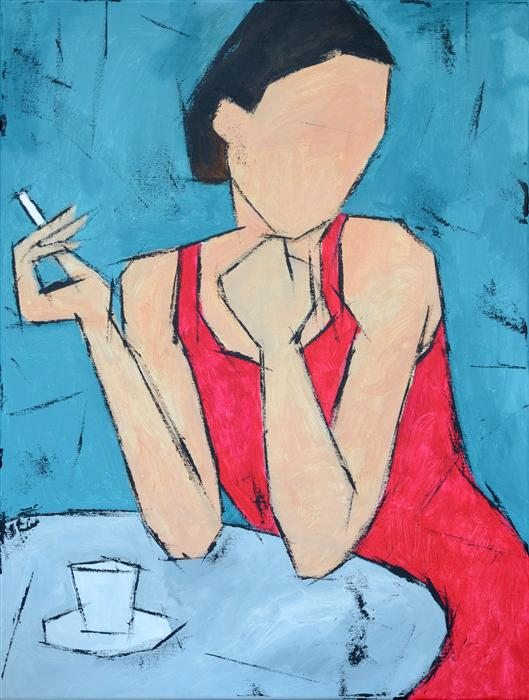 Discover Original Art by Tanya Grabkova | Coffee and Cigarette acrylic painting | Art for Sale Online at UGallery