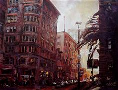 Architecture art,Impressionism art,Travel art,Representational art,acrylic painting,Union Square, Looking West on Geary and Powell