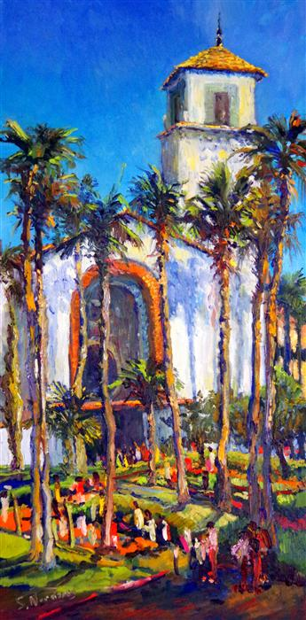 Discover Original Art by Suren Nersisyan | Union Station in Los Angeles (Sunny Day) oil painting | Art for Sale Online at UGallery