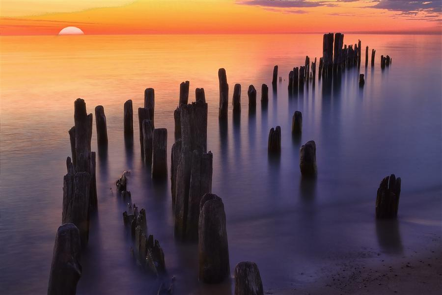 Original art for sale at UGallery.com | Sunrise at Grosse Point by MICHAEL BAKER | $170 |  | ' h x ' w | http://www.ugallery.com/photography-sunrise-at-grosse-point