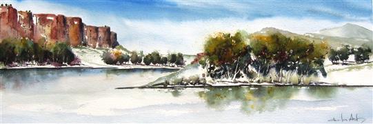 Landscape art,Western art,watercolor painting,River Bluffs