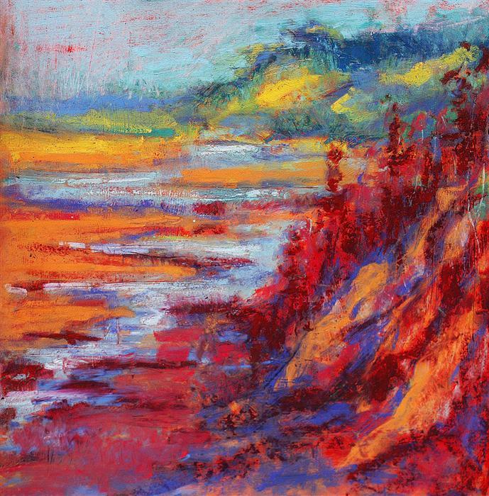 Discover Original Art by Sarah Beth Goncarova | Red Cliffs at Dawn pastel artwork | Art for Sale Online at UGallery