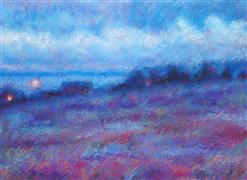 Discover Original Art by Sarah Beth Goncarova | Wild Blueberry Field at Dusk pastel artwork | Art for Sale Online at UGallery