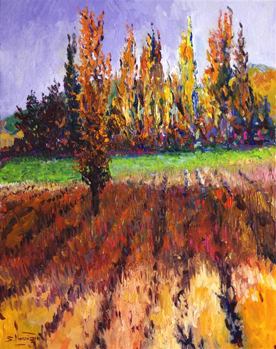 Discover Original Art by Suren Nersisyan | Poplars in the Fall (Dry Field) oil painting | Art for Sale Online at UGallery
