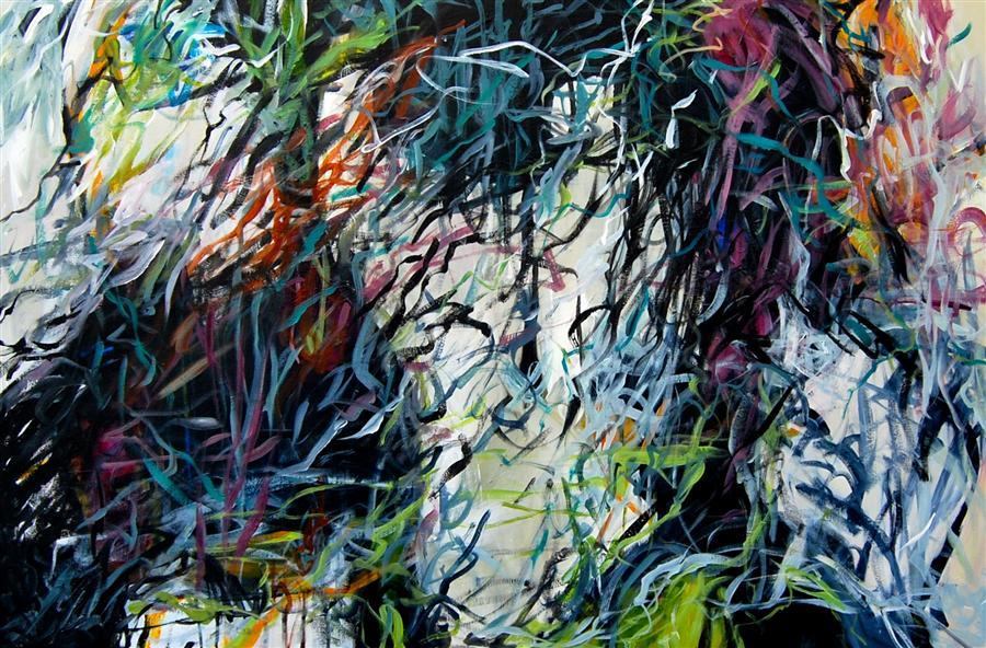 Original art for sale at UGallery.com | Unseen Unheard by KARA BARKVED | $1,075 | Acrylic painting | 24' h x 36' w | http://www.ugallery.com/acrylic-painting-unseen-unheard
