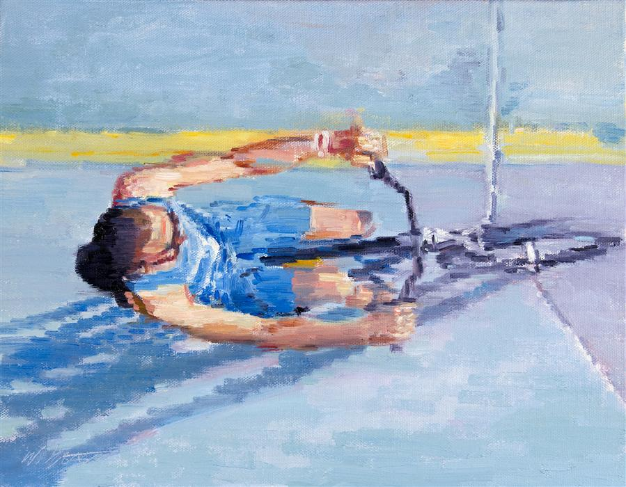 Original art for sale at UGallery.com | Man Bicycling on the Beach in Santa Monica by WARREN KEATING | $650 | Oil painting | 11' h x 14' w | http://www.ugallery.com/oil-painting-man-bicycling-on-the-beach-in-santa-monica