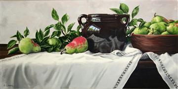 Still Life art,acrylic painting,Still Life with Pears
