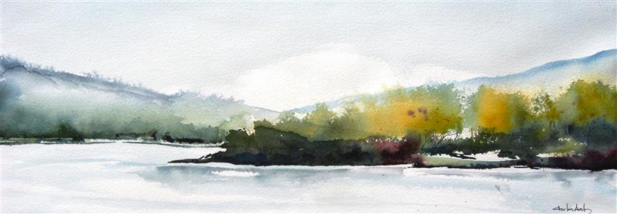 Discover Original Art by Charles Ash | Misty Morning on the River watercolor painting | Art for Sale Online at UGallery