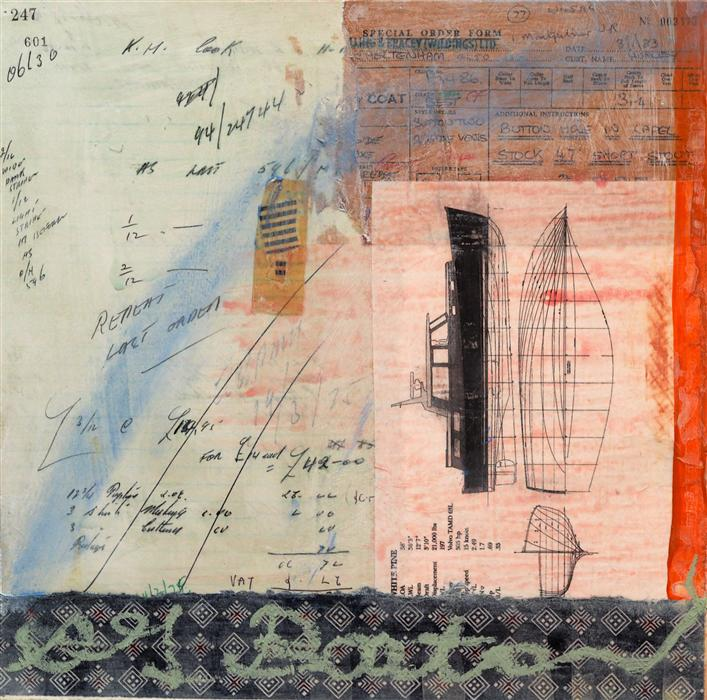 Original art for sale at UGallery.com | Sea Going Calculations by LESLIE MORGAN | $550 | Mixed media artwork | 14' h x 14' w | http://www.ugallery.com/mixed-media-artwork-sea-going-calculations